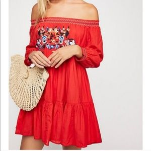 Free People Sunbeams Embroidered Dress NWT